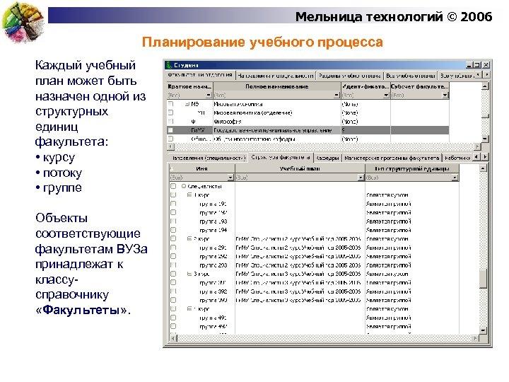 Мельница технологий © 2006 Планирование учебного процесса Каждый учебный план может быть назначен одной
