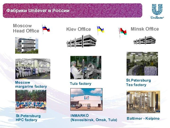 Фабрики Unilever в России Moscow Head Office Kiev Office Minsk Office Moscow margarine factory