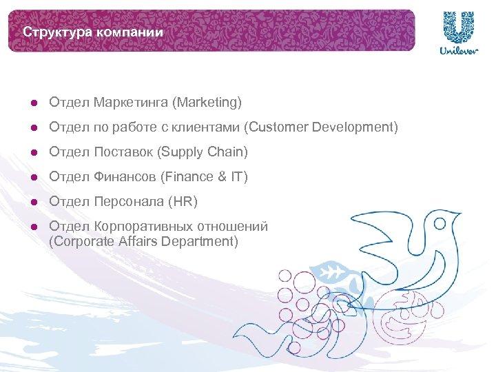 Структура компании l Отдел Маркетинга (Marketing) l Отдел по работе с клиентами (Customer Development)