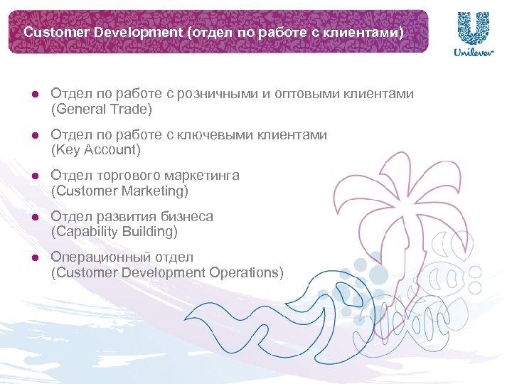 Customer Development (отдел по работе с клиентами) Отдел по работе с розничными и оптовыми