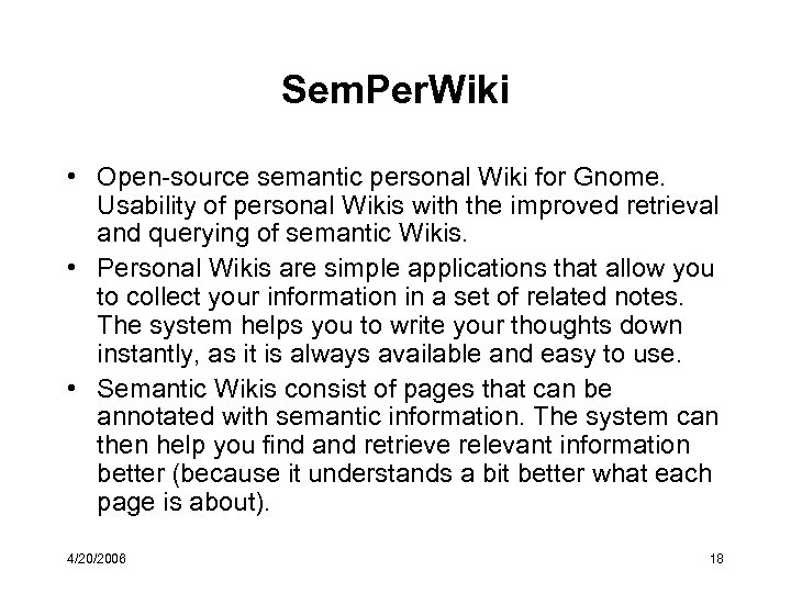 Sem. Per. Wiki • Open-source semantic personal Wiki for Gnome. Usability of personal Wikis