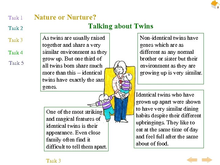 Task 1 Task 2 Task 3 Task 4 Task 5 Nature or Nurture? Talking