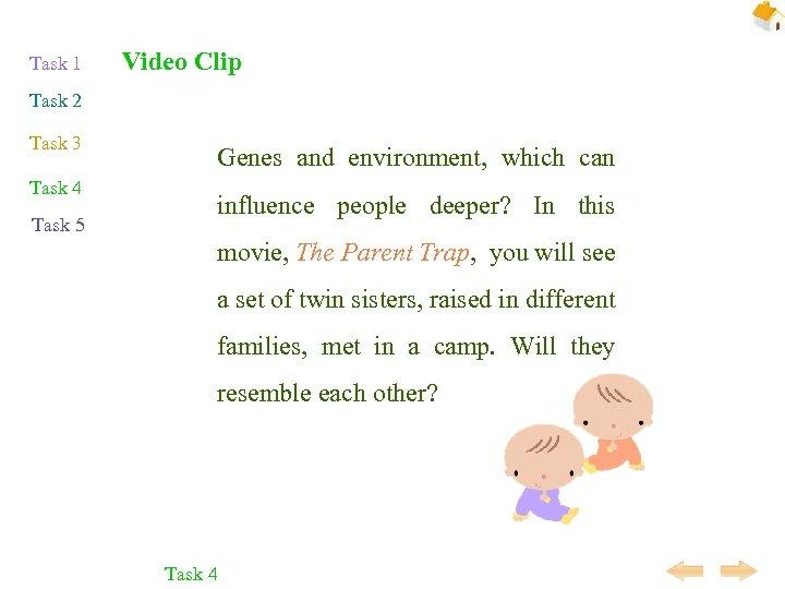 Task 1 Video Clip Task 2 Task 3 Task 4 Task 5 Genes and