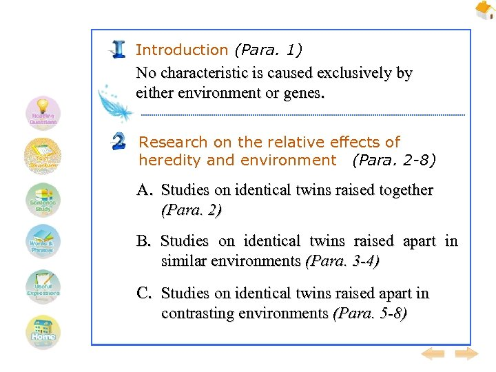 Introduction (Para. 1) No characteristic is caused exclusively by either environment or genes. Research
