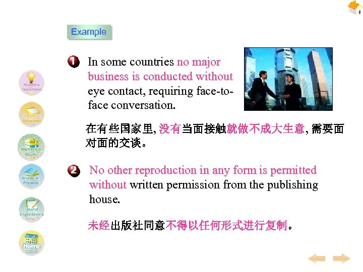 Example In some countries no major business is conducted without eye contact, requiring face-toface