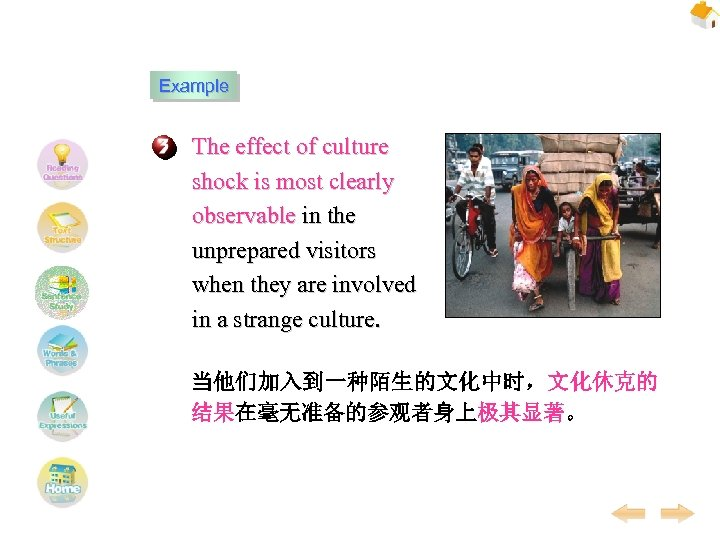Example The effect of culture shock is most clearly observable in the unprepared visitors