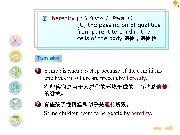 heredity (n. ) (Line 1, Para 1) [U] the passing on of qualities from