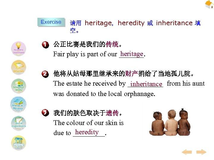 Exercise 请用 heritage, heredity 或 inheritance 填 空。 公正比赛是我们的传统。 heritage Fair play is part