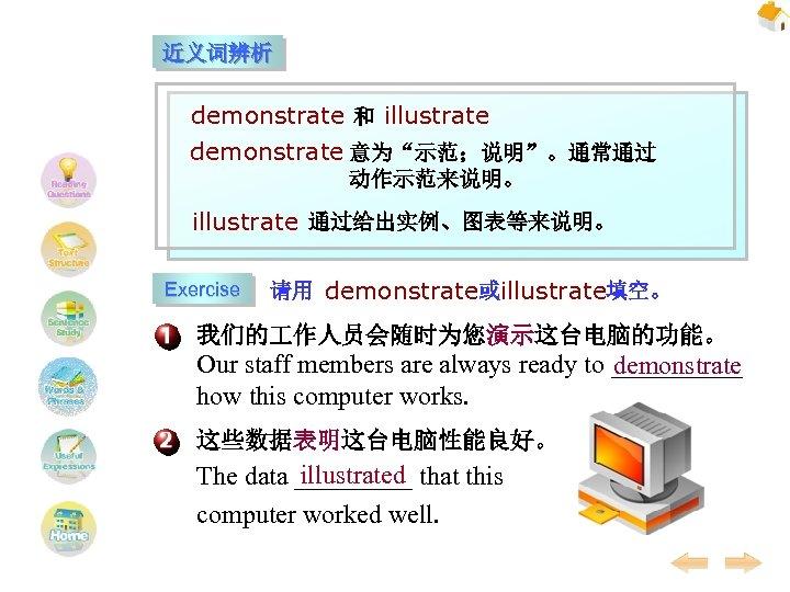 """近义词辨析 demonstrate 和 illustrate demonstrate 意为""""示范;说明""""。通常通过 动作示范来说明。 illustrate 通过给出实例、图表等来说明。 Exercise 请用 demonstrate或illustrate填空。 我们的 作人员会随时为您演示这台电脑的功能。"""