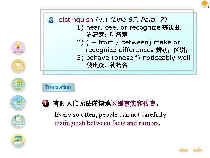 distinguish (v. ) (Line 57, Para. 7) 1) hear, see, or recognize 辨认出; 看清楚;听清楚