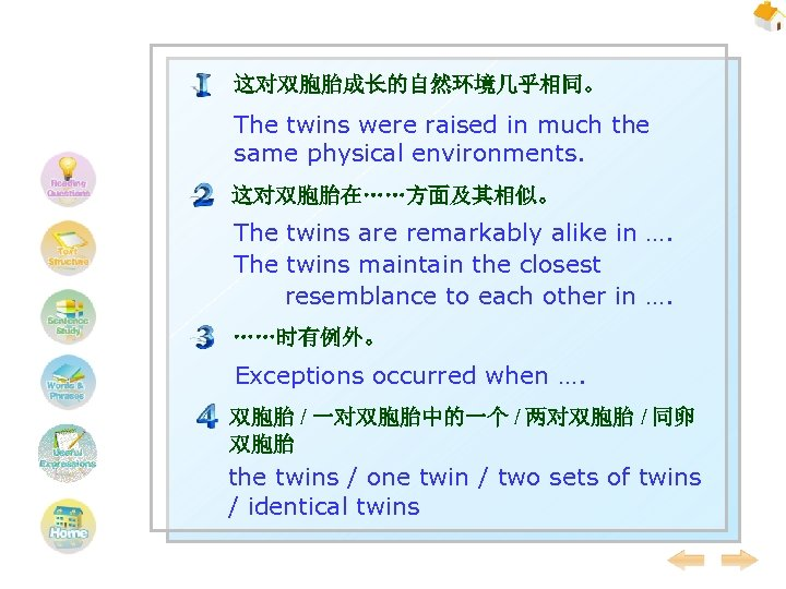 这对双胞胎成长的自然环境几乎相同。 The twins were raised in much the same physical environments. 这对双胞胎在……方面及其相似。 The twins
