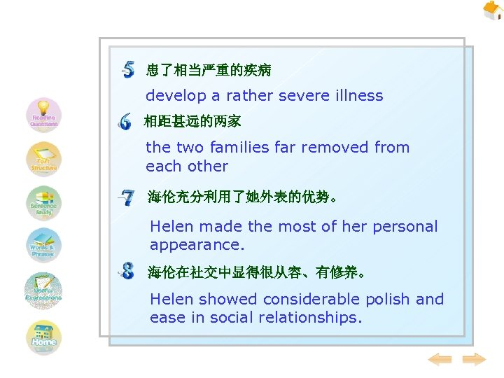 患了相当严重的疾病 develop a rather severe illness 相距甚远的两家 the two families far removed from each