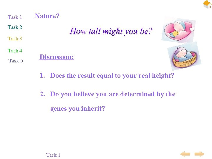 Task 1 Nature? Task 2 How tall might you be? Task 3 Task 4