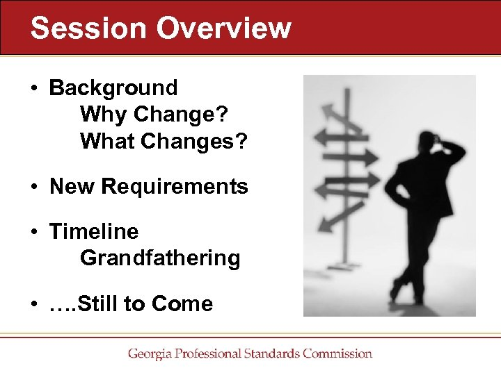 Session Overview • Background Why Change? What Changes? • New Requirements • Timeline Grandfathering