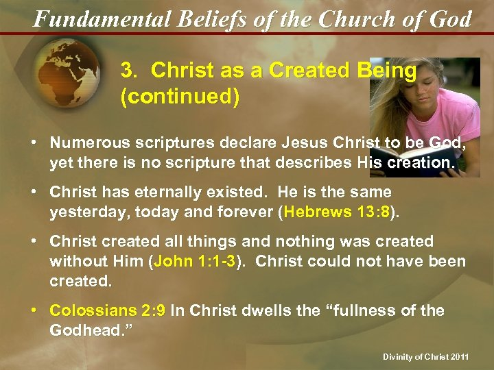 Fundamental Beliefs of the Church of God 3. Christ as a Created Being (continued)