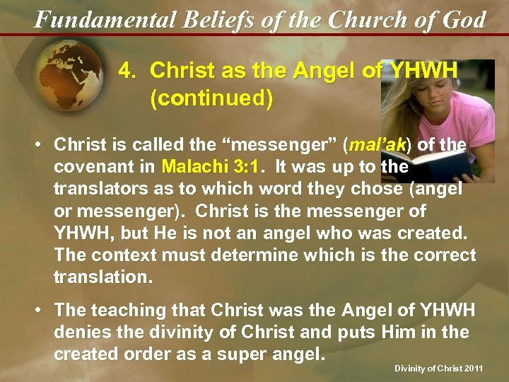 Fundamental Beliefs of the Church of God 4. Christ as the Angel of YHWH