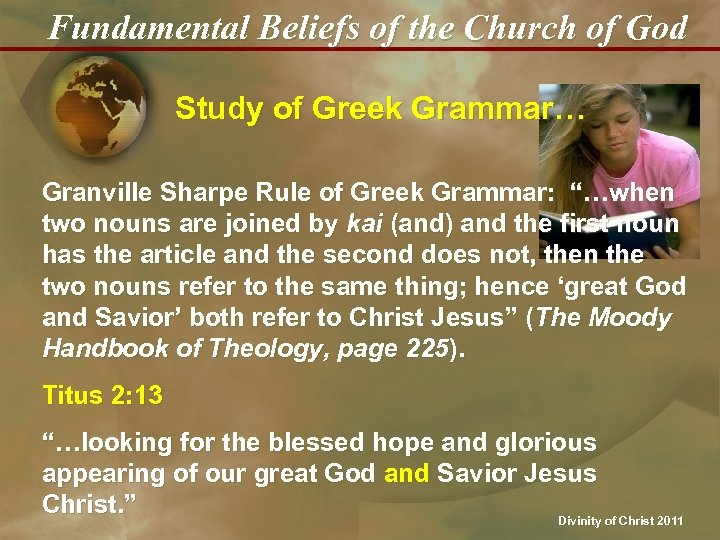 Fundamental Beliefs of the Church of God Study of Greek Grammar… Granville Sharpe Rule