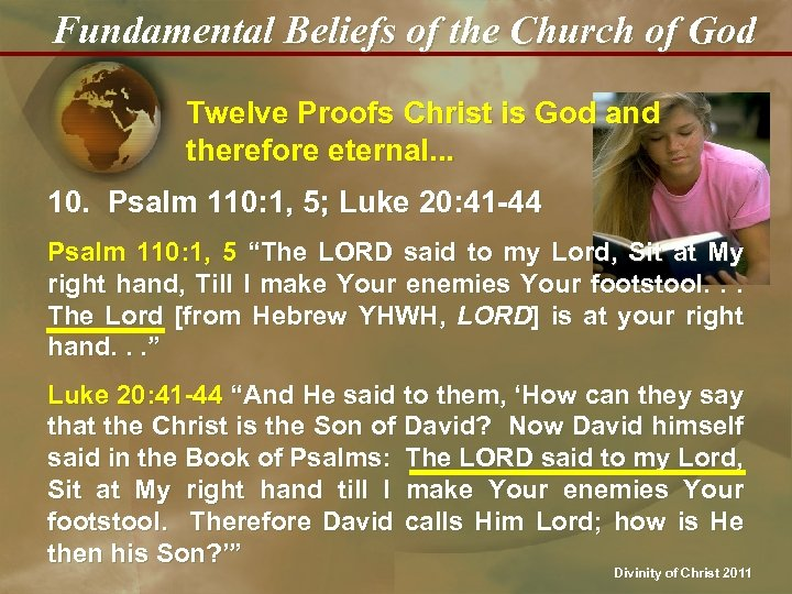 Fundamental Beliefs of the Church of God Twelve Proofs Christ is God and therefore