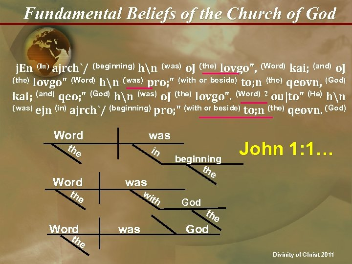 Fundamental Beliefs of the Church of God j. En (In) ajrch`/ (beginning) hn (was)