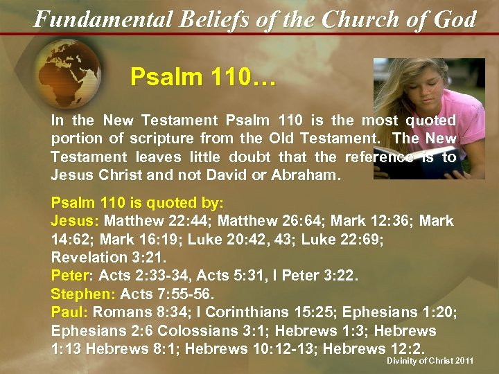 Fundamental Beliefs of the Church of God Psalm 110… In the New Testament Psalm