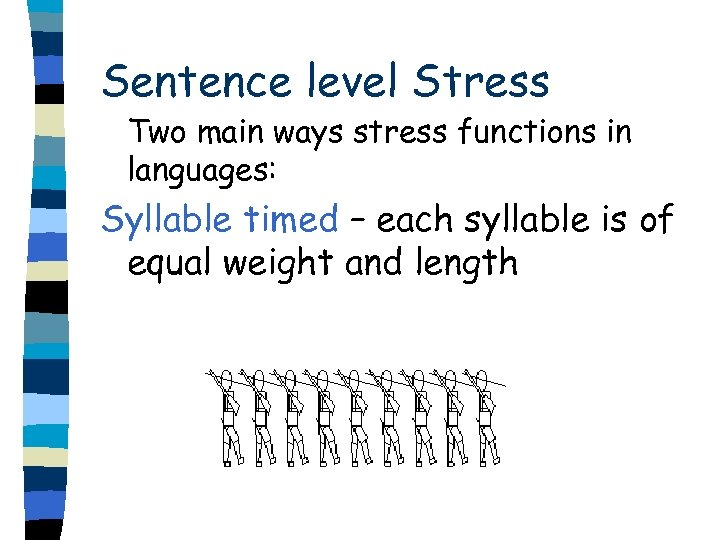 Sentence level Stress Two main ways stress functions in languages: Syllable timed – each