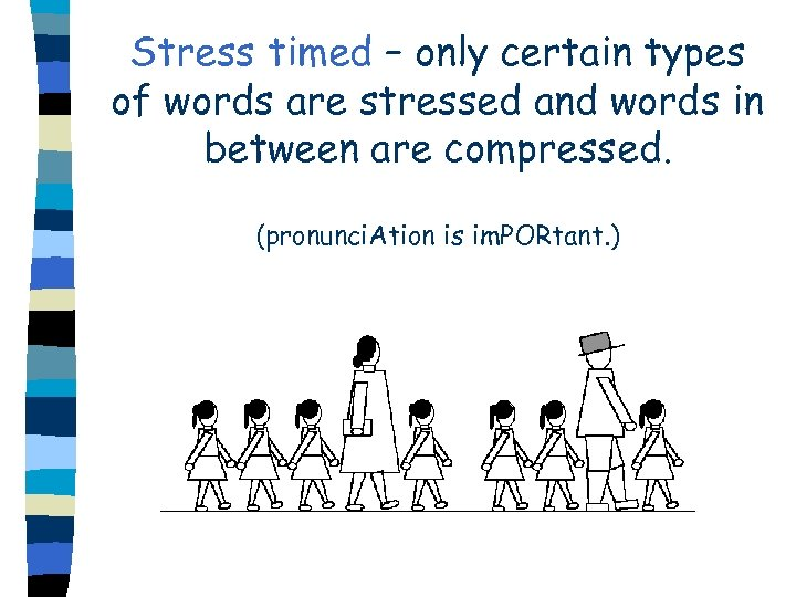 Stress timed – only certain types of words are stressed and words in between