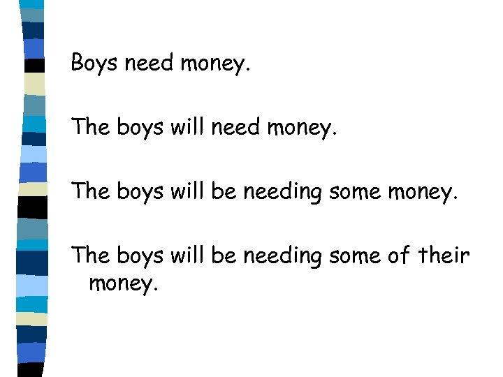 Boys need money. The boys will be needing some of their money.