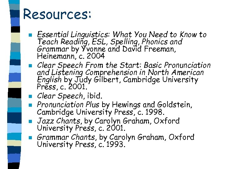 Resources: n n n Essential Linguistics: What You Need to Know to Teach Reading,