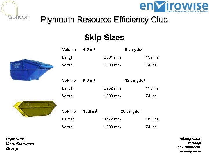 Plymouth Resource Efficiency Club Skip Sizes Volume 4. 5 m 3 6 cu yds