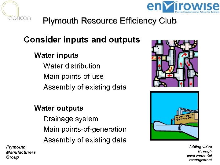 Plymouth Resource Efficiency Club Consider inputs and outputs Water inputs n Water distribution n