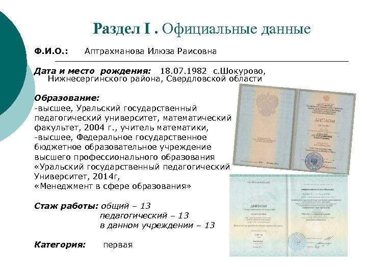 Раздел I. Официальные данные Ф. И. О. : Аптрахманова Илюза Раисовна Дата и место