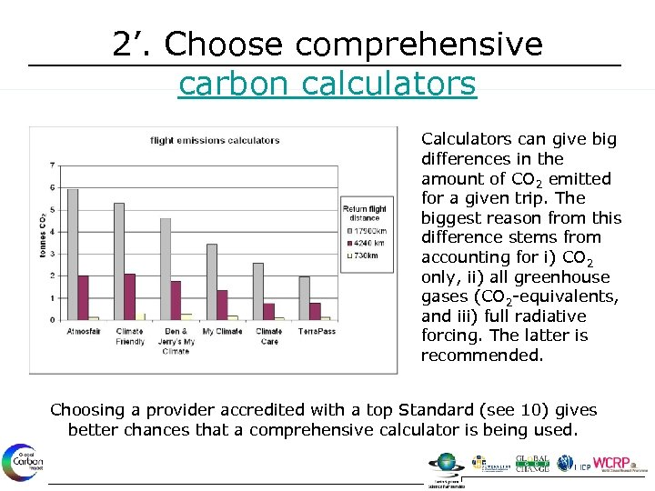 2'. Choose comprehensive carbon calculators Calculators can give big differences in the amount of
