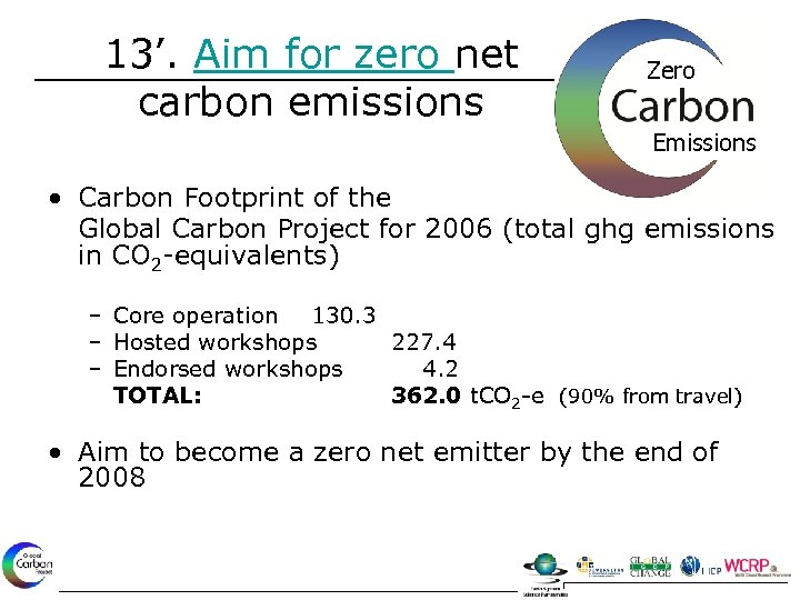 13'. Aim for zero net carbon emissions Zero Emissions • Carbon Footprint of the
