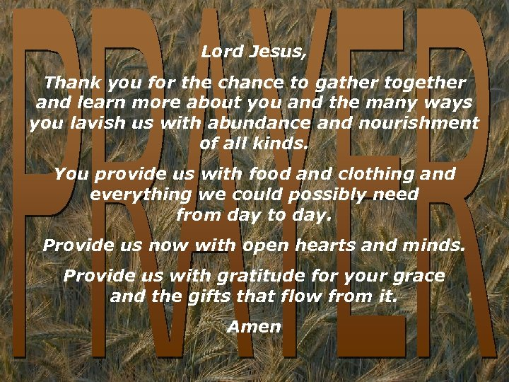 Lord Jesus, Thank you for the chance to gather together and learn more about