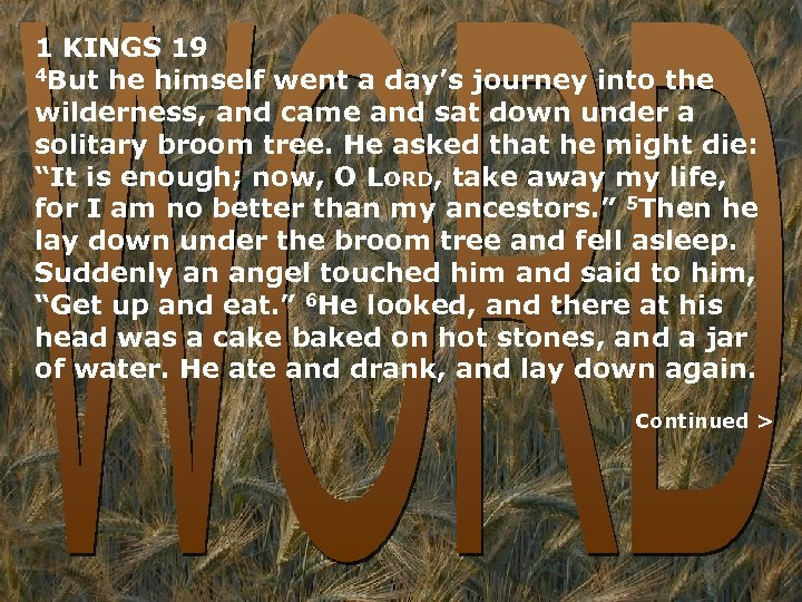 1 KINGS 19 4 But he himself went a day's journey into the wilderness,