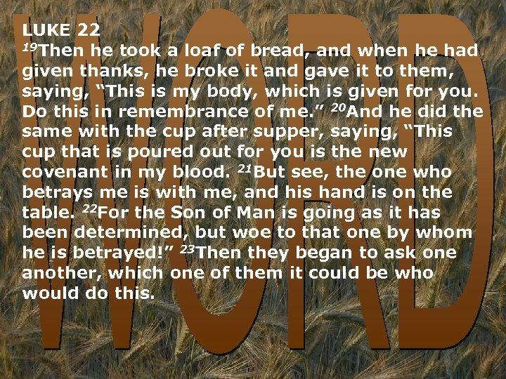 LUKE 22 19 Then he took a loaf of bread, and when he had