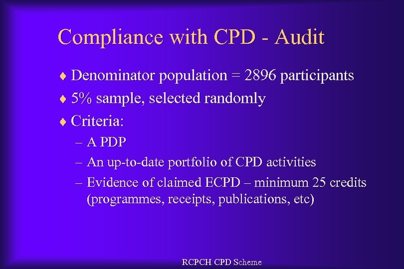 Compliance with CPD - Audit ¨ Denominator population = 2896 participants ¨ 5% sample,