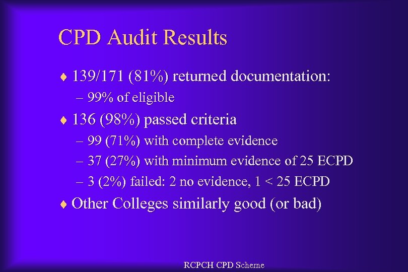 CPD Audit Results ¨ 139/171 (81%) returned documentation: – 99% of eligible ¨ 136