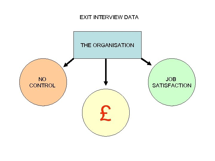 EXIT INTERVIEW DATA THE ORGANISATION NO CONTROL JOB SATISFACTION £