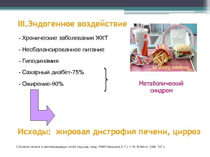 . III. Эндогенное воздействие - Хронические заболевания ЖКТ - Несбалансированное питание - Гиподинамия 35%