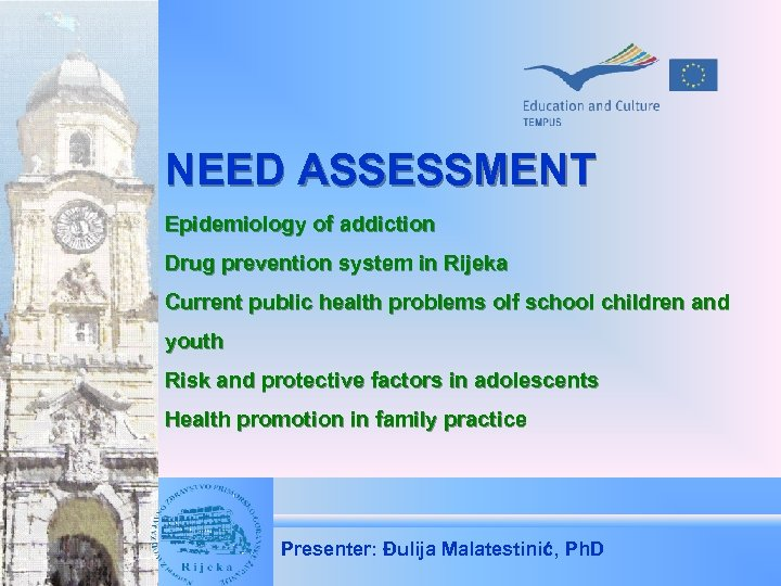 NEED ASSESSMENT Epidemiology of addiction Drug prevention system in Rijeka Current public health problems