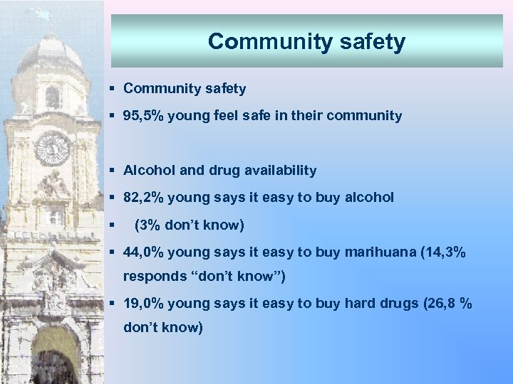 Community safety § 95, 5% young feel safe in their community § Alcohol and