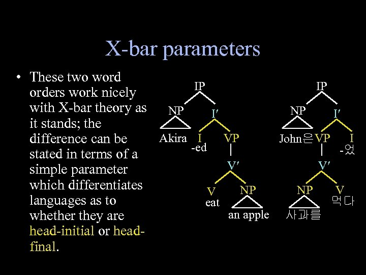X-bar parameters • These two word IP IP orders work nicely with X-bar theory