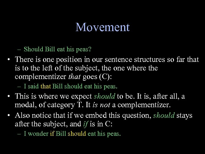 Movement – Should Bill eat his peas? • There is one position in our