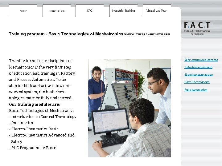 > Training program - Basic Technologies of Mechatronics. Industrial Training > Basic Technologies Training