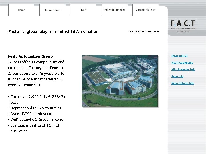 Festo – a global player in industrial Automation Festo Automation Group Festo is offering