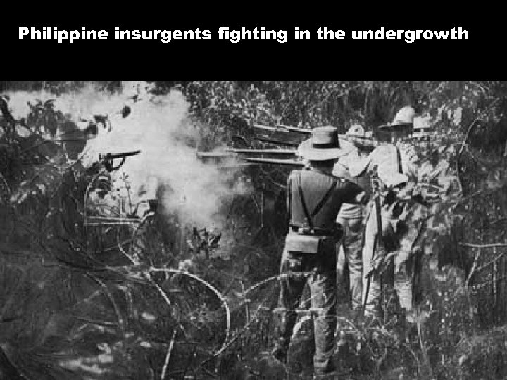 Philippine insurgents fighting in the undergrowth