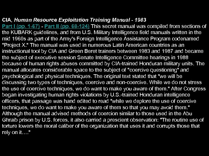 CIA, Human Resource Exploitation Training Manual - 1983 Part I (pp. 1 -67) -