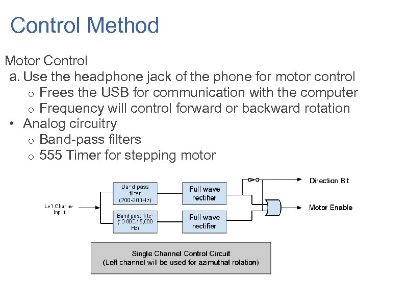 Control Method Motor Control a. Use the headphone jack of the phone for motor