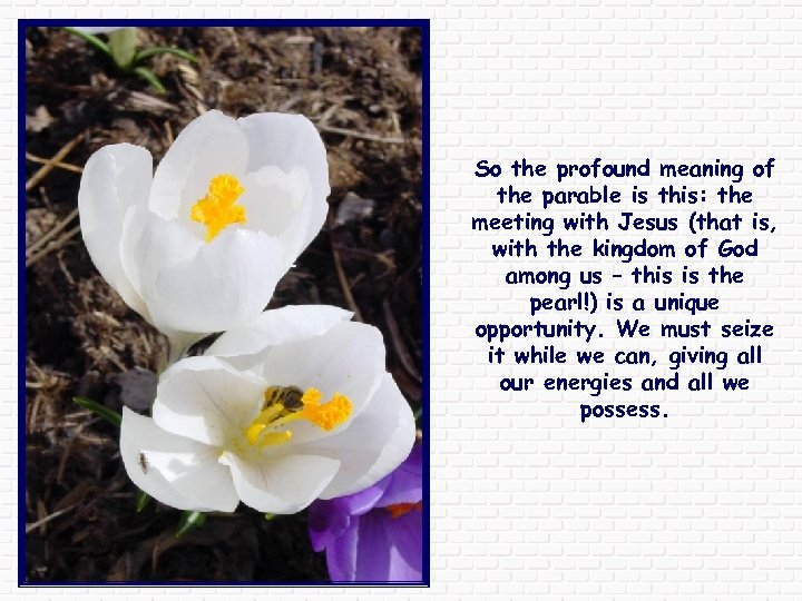 So the profound meaning of the parable is this: the meeting with Jesus (that
